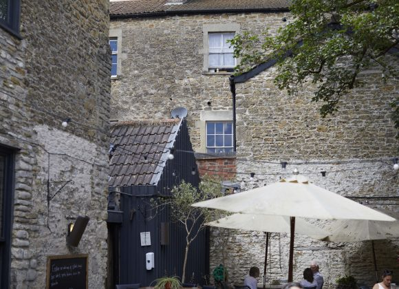outdoor courtyard terrace garden at The Archangel, pub and cocktail bar with bedrooms in Frome, Somerset